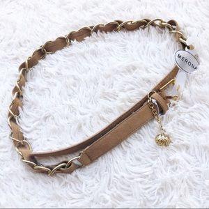 MERONA ✨NWT✨ Tan & Gold Leather Chain Belt Large